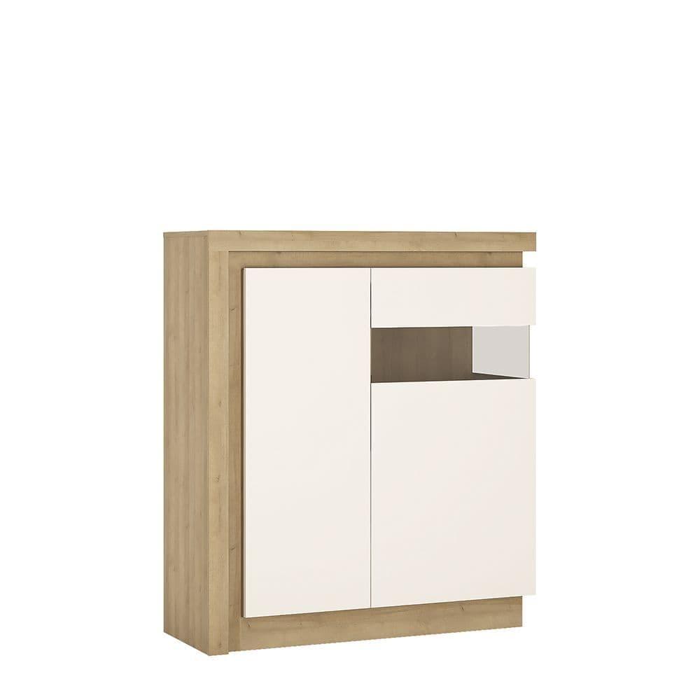 Metropolis 2 door designer cabinet (RH) (includes LEDs) in Riviera Oak/White high gloss